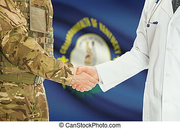 Military man in uniform and doctor shaking hands with US states flags on background - Kentucky
