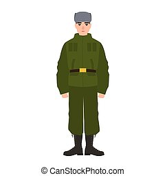 Military man of Russian armed force wearing army uniform and fur hat. Soldier or infantryman isolated on white background. Male cartoon character. Colorful vector illustration in flat cartoon style.