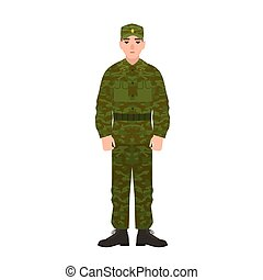 Military man of Russian armed force wearing camouflage army uniform. Soldier, conscript or infantryman isolated on white background. Male cartoon character. Vector illustration in flat cartoon style.
