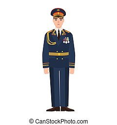 Military man of Russian armed force wearing full dress uniform. Infantryman on parade isolated on white background. Male cartoon character. Colored vector illustration in flat cartoon style.