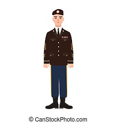 Military man of USA armed force wearing full dress uniform ...