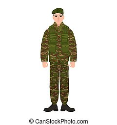 Military man or serviceman dressed in army camouflage uniform. Soldier, footman or infantryman isolated on white background. Male cartoon character. Colorful vector illustration in flat cartoon style.