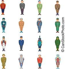 Military man set, cartoon style
