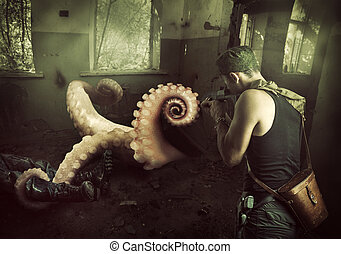 Military man shoots machine gun in the tentacles of octopus, getting out of the basement at home