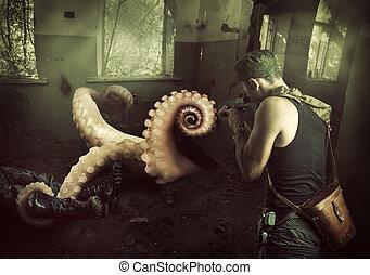Military man shoots machine gun in octopus - Military man...