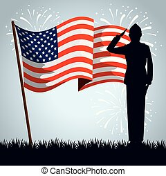 military man silhouette with usa flag
