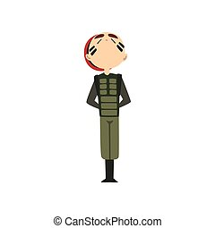 Military man standng at attention, soldier character in ...