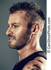 military man - Close-up portrait of a handsome mature man....