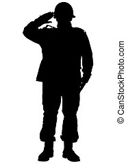 Military man - Vector drawing of a soldier in uniform with...
