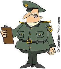 This illustration depicts a man in a military uniform reading off of a clipboard.