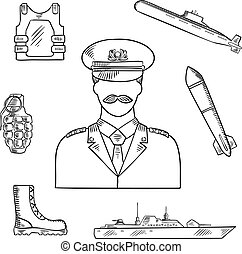 Military man with army symbols sketch icon