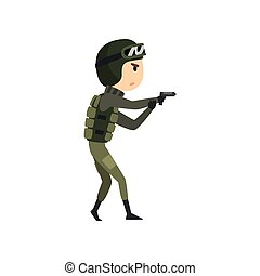 Military man with gun, soldier character in camouflage uniform, cartoon vector Illustration on a white background