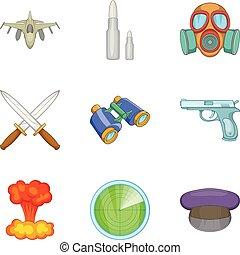 Military matter icons set, cartoon style