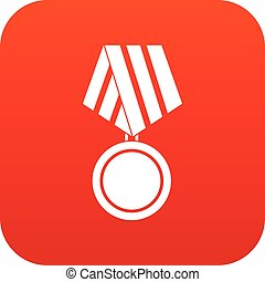 Military medal icon digital red