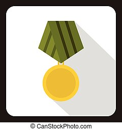 Military medal icon, flat style