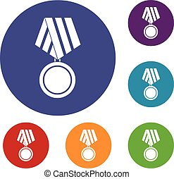 Military medal icons set