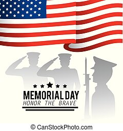 military men and usa flag to memorial day