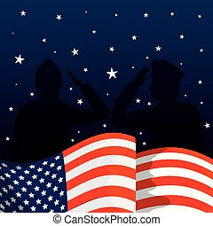 military men silhouettes with usa flag