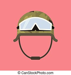 Military metal helmet with goggles