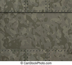 Military metal with rivets 3d illustration background
