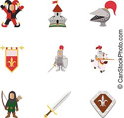 Military middle ages icons set, cartoon style