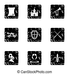 Military middle ages icons set, grunge style
