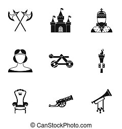Military middle ages icons set, simple style - Military...