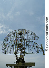military mobile radar station against the blue sky, Russia