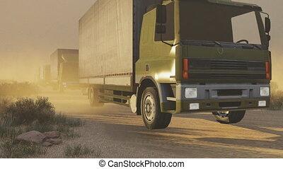 Military motorcade in desert - Convoy of military trucks on...
