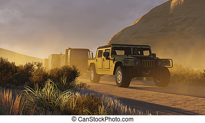 Military motorcade on a canyon road 2