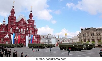 Military motorcades ride on Red square at Victory Parade