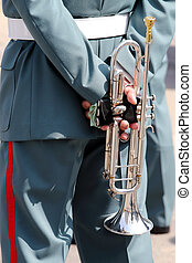 Military musician with the trumpet