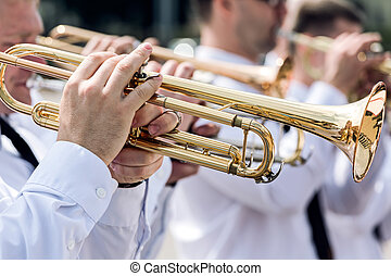 military musicians are playing on the trumpets