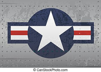 Detailed crisp US military national aircraft insignia star warplane logo, full color with distressed details, metal look with rivets and slightly worn paint theme. The vector version is organized into simple groups for easy editing, allowing you to remove the background and distressed features.