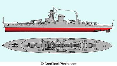 Military navy ships  - Vector art illustration of battleship