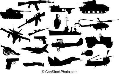 military objects on white background