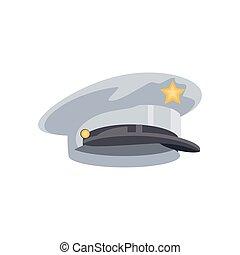 military officer cap on white background