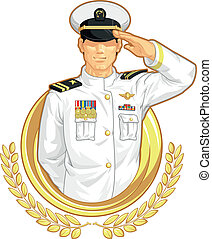 Military Officer in Salute Gesture - A vector image of a...