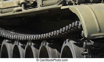 Military old tank caterpillar and armor
