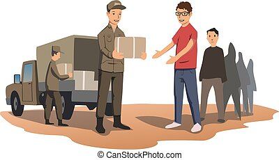 Military or volunteers distribute boxes with humanitarian...