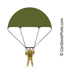 Military Parachutists Vector Illustration