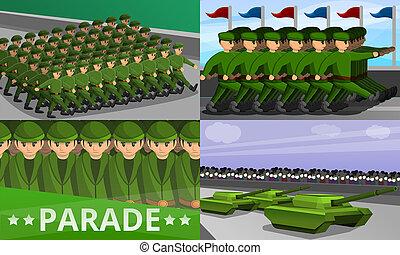 Military parade banner set, cartoon style