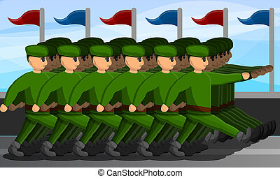 Military parade concept banner, cartoon style