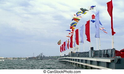 Military parade - Flags of different countries.