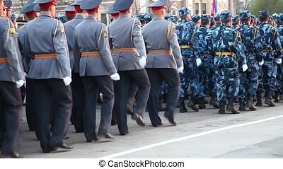 Military parade - Formation of soldiers in dress parade...