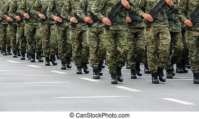 Military parade of the Croatian army on the anniversary of...