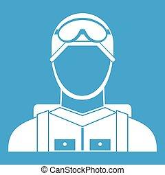 Military paratrooper icon white
