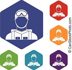 Military paratrooper icons set