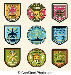 Military patches vector set. Army forces emblems and labels