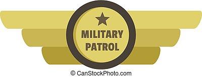 Military patrol icon logo, flat style